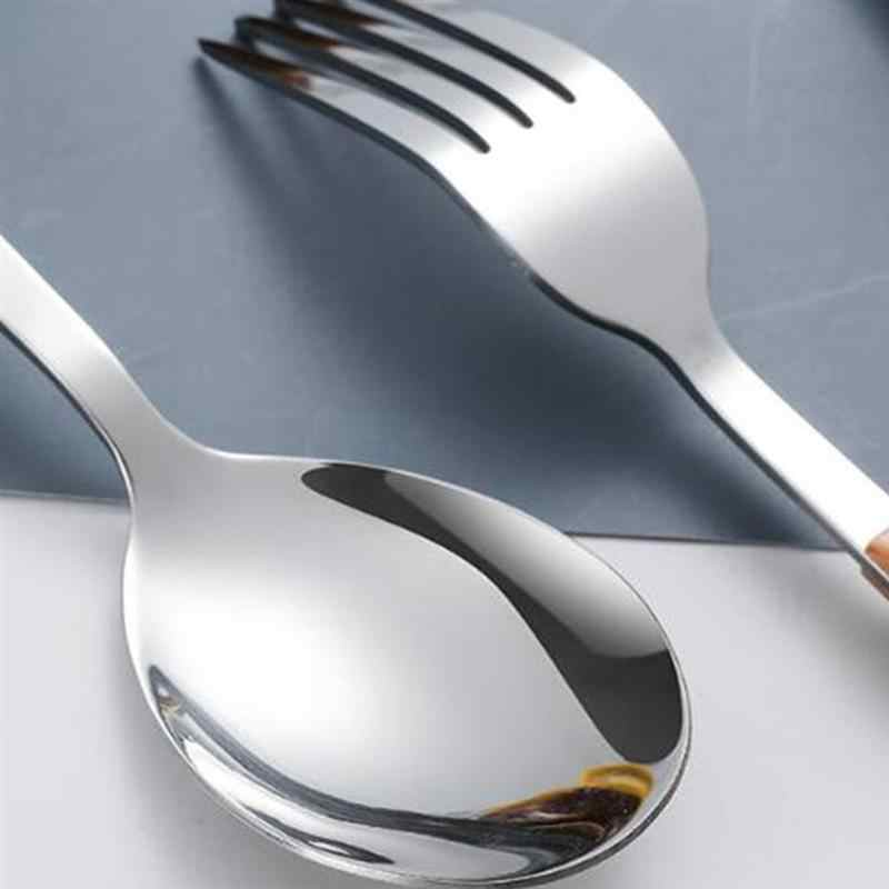 1 Set Rvs Bestek Set Draagbare Servies Imitatie Houten Handvat Vork Lepel Steak Cutter Fruit Bestek Kit
