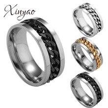 Anel masculino, anel de descompressão punk rock acessórios de aço inoxidável corrente giratória anéis para homens em 5 cores tamanho dos eua 6-12