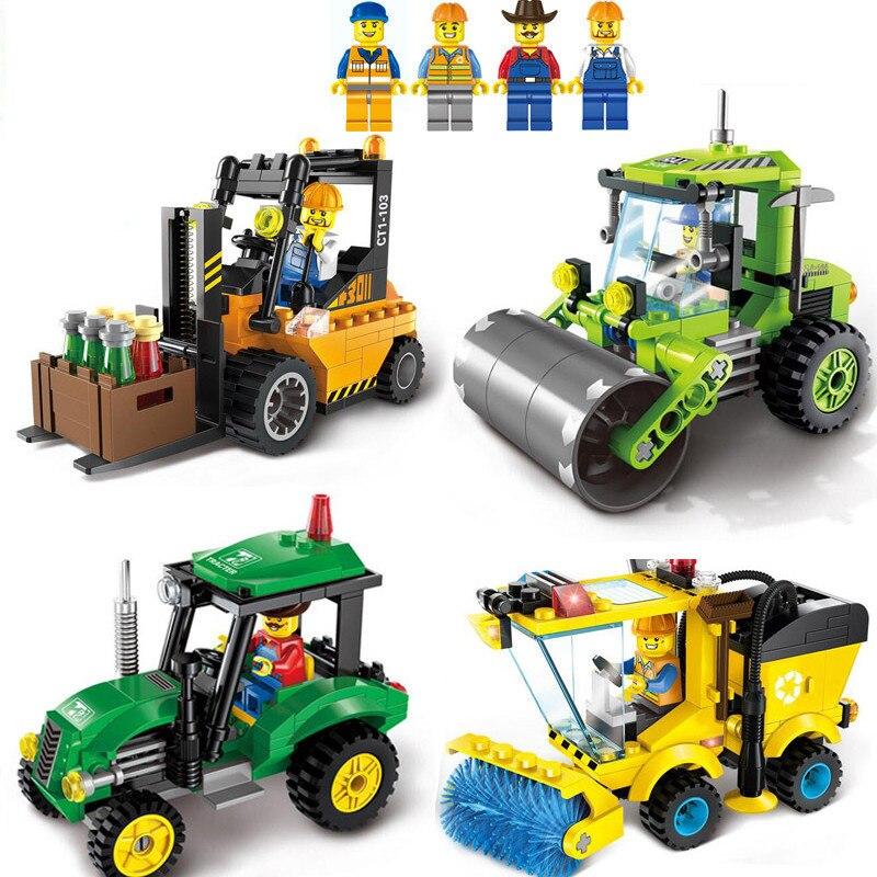 Kids Love 4 Type Legoinglys Civilized City Sweeper Forklift Model Building Blocks Toys Kit Diy Educational Children Birthday