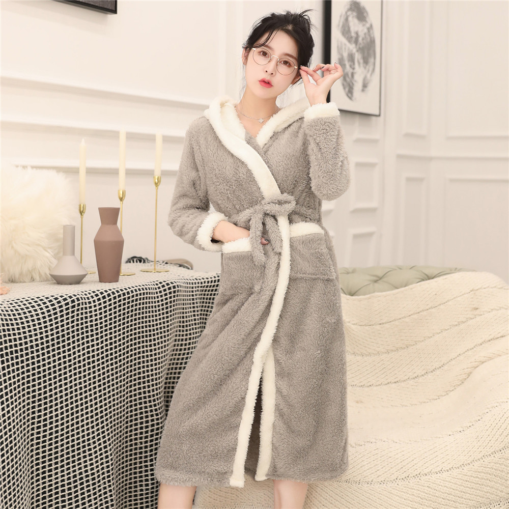 Women Bathrobe Gown Flannel Cute Hooded Robe Sleepwear Night Dress Warm Winter Thicken Home Clothing Long Sleeve V-neck Negligee