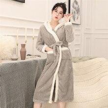 Women Bathrobe Gown Flannel Cute Hooded Robe Sleepwear Night Dress Warm Winter Thicken Home Clothing Long Sleeve V-neck Negligee