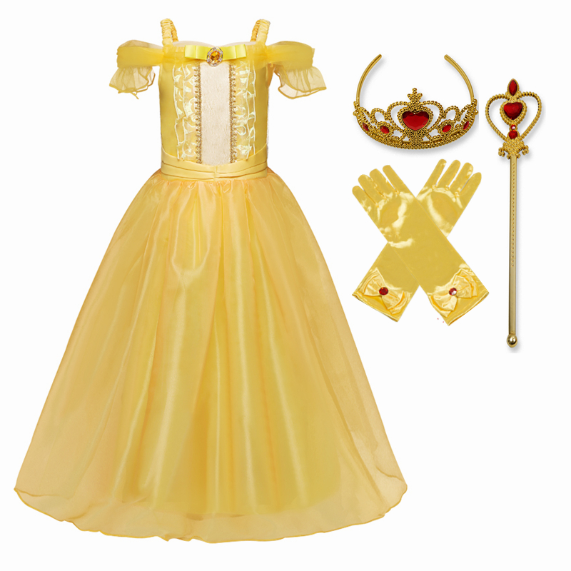 Princess Cosplay Costume Elegant Princess Dress for Girls Children's Party Dress-up 4-10T Kids Ball Gown 3