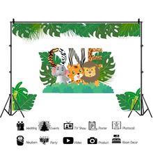 Foto Achtergronden Safari Verjaardagsfeestje Jungle Bos Dieren Baby Poster Fotografie Achtergronden Vinyl Photocall Voor Foto Studio