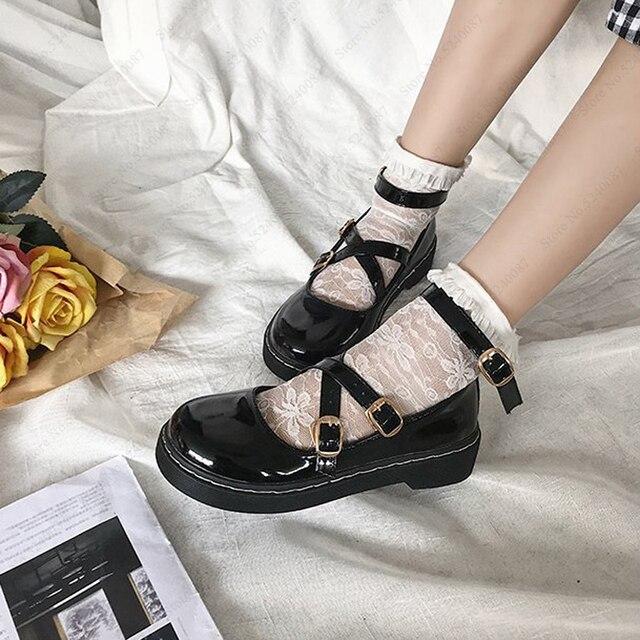 יפני סגנון לוליטה Kawaii נשים בית ספר נעלי JK אחיד Cos אקדמיה חגורת אבזם עור נעלי נסיכת אנימה קוספליי Coatumes