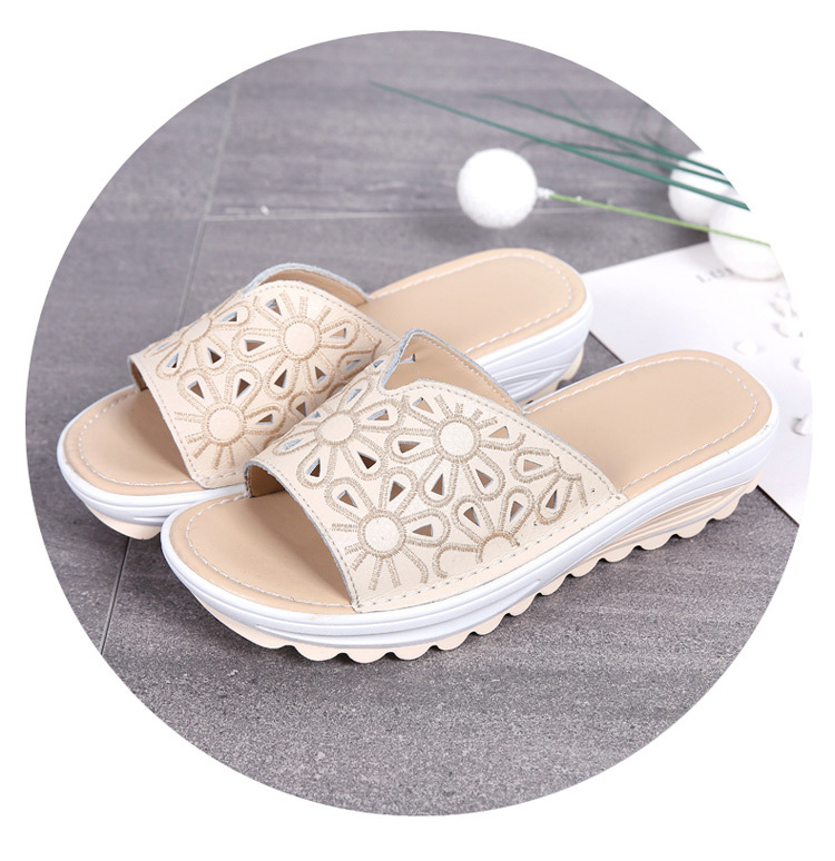 AH 1975-2020 Genuine Leather Womens Flat Slides Casual Hollows Summer Beach Flip Flops-6