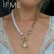 Se me vintage estética irregular ot bloqueio barroco pérola longo grosso corrente gargantilha colar pingente para mulher jóias assimétricas