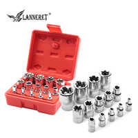 "LANNERET 14pcs 4~24mm Socket Wrench Set 1/2"" , 3/8"", 1/4"" Drive Adapter 6 Point Spanner Converter Reducer Impact Wrench Socket"