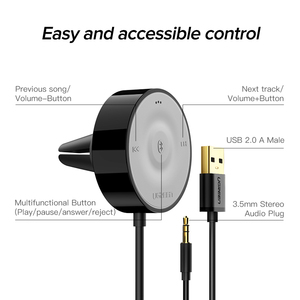 Image 5 - Ugreen Bluetooth 5.0 Car Kit Aptx Ll Ontvanger Handsfree 3.5 Mm Aux Audio Adapter Dual 4.8A Usb Auto lader 3M Base Air Vent Clip