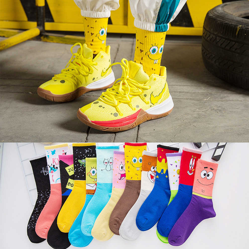 Hot Sale Fashion Men's Sokc Cotton Personality Cartoon Character Casual Socks Unisex Harajuku Creative Hip Hop Happy Skateboard