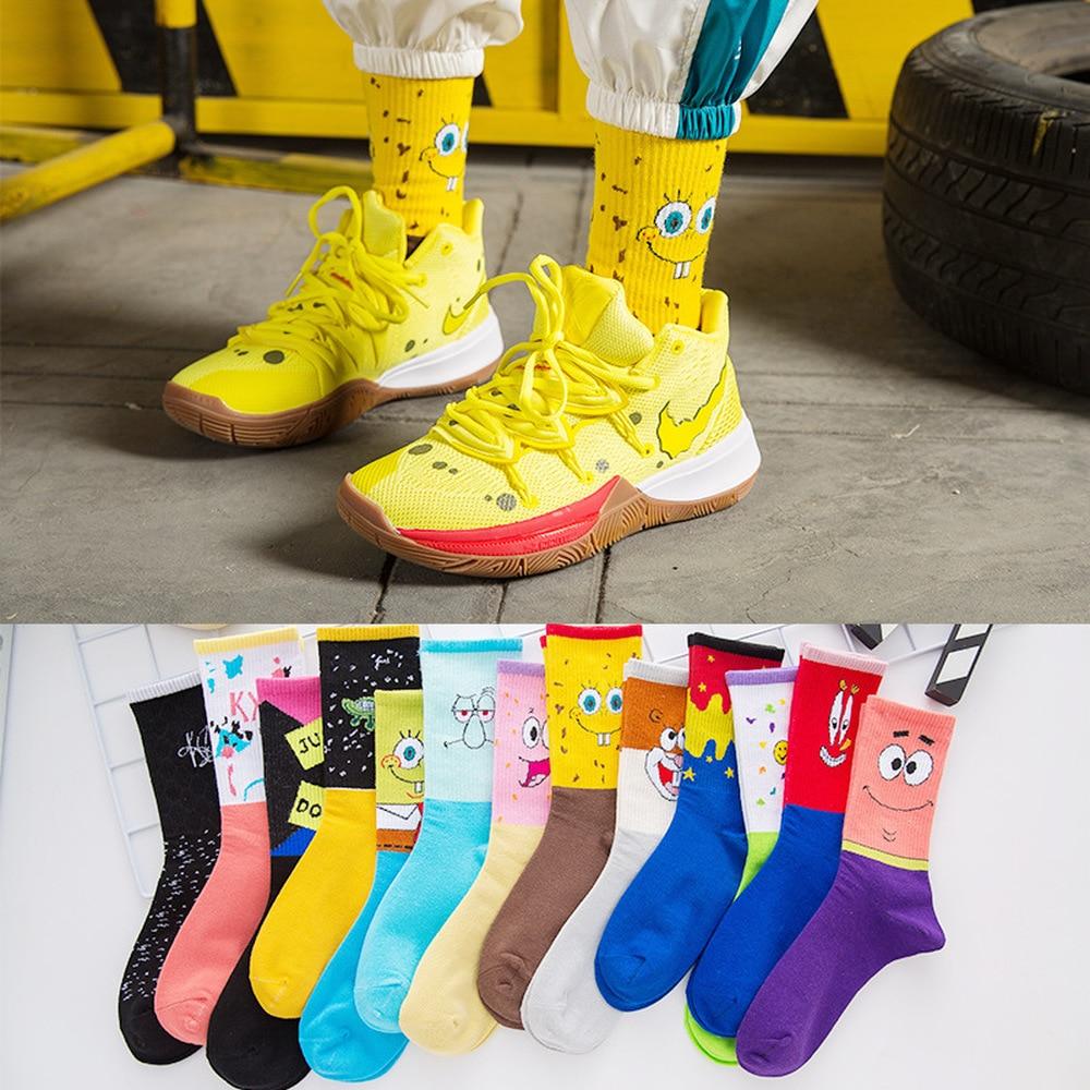 Hot Sale Fashion Men's Sokc Cotton Personality Cartoon Character Casual Socks Unisex Harajuku Creative Hip Hop Happy Skateboard