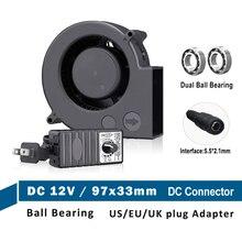 1PCS 9733 97x33mm 12V DC Auspuff Leistungsstarke Gebläse Fan 97mm Dual Ball Kreisel w/ 120V 220V zu 4V-12V 2A mit Speed Controller