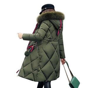Image 5 - Casaco de inverno de pele grande, feminino, parka, costura, slim, longo, para inverno, de algodão y07