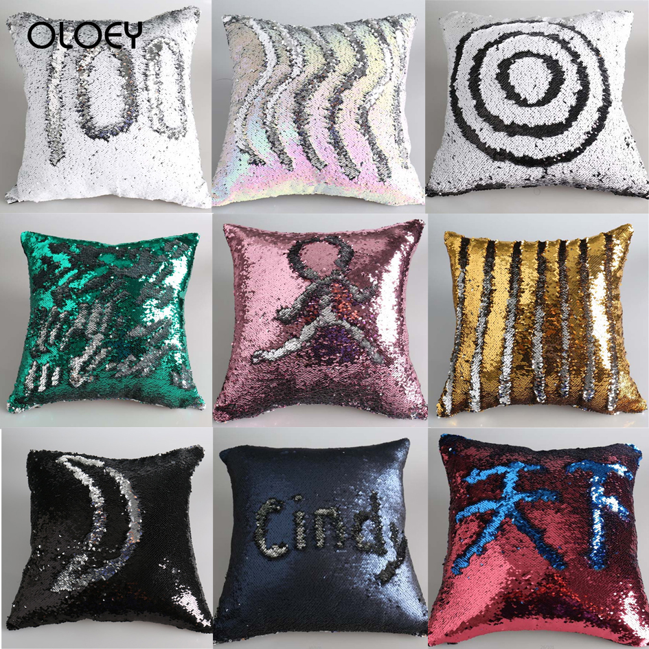 Unique Cushion Cover Mermaid Polyester Cushion Cover Home Bedroom Hotel Car Seat Decorative Cushion Wedding Personality Gift  ..