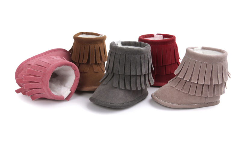 Baby Infant Girls Winter Warm Tassel Boots Newborn Toddler Soft Sole Shoes 3-11M