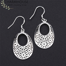 Charmhouse 925 Silver Earrings for Women Oval Dangle Earing Brincos Femme Pendientes Vintage Jewelry Accessories Bijoux