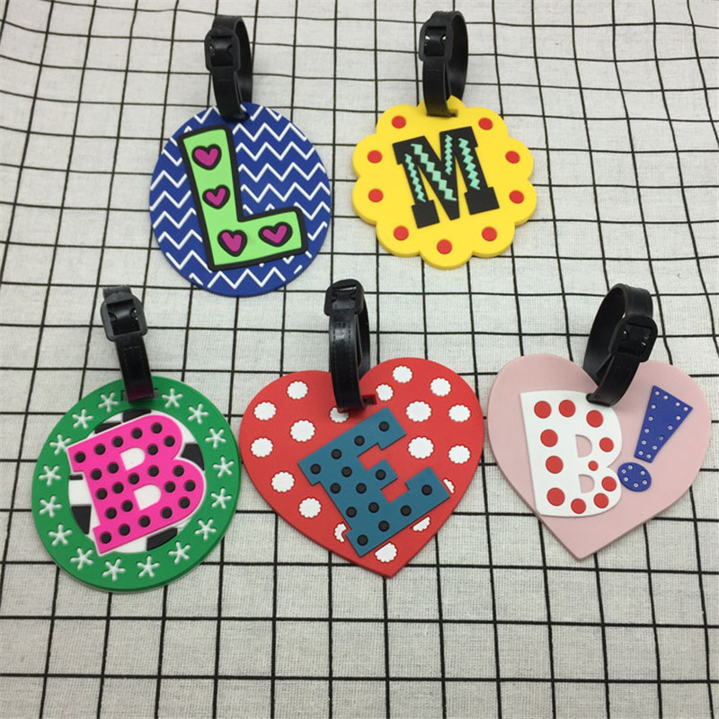 Creative Letter Travel Accessories Luggage Tag Cartoon Silica Gel Suitcase ID Address Holder Baggage Boarding Tags Portable Labe