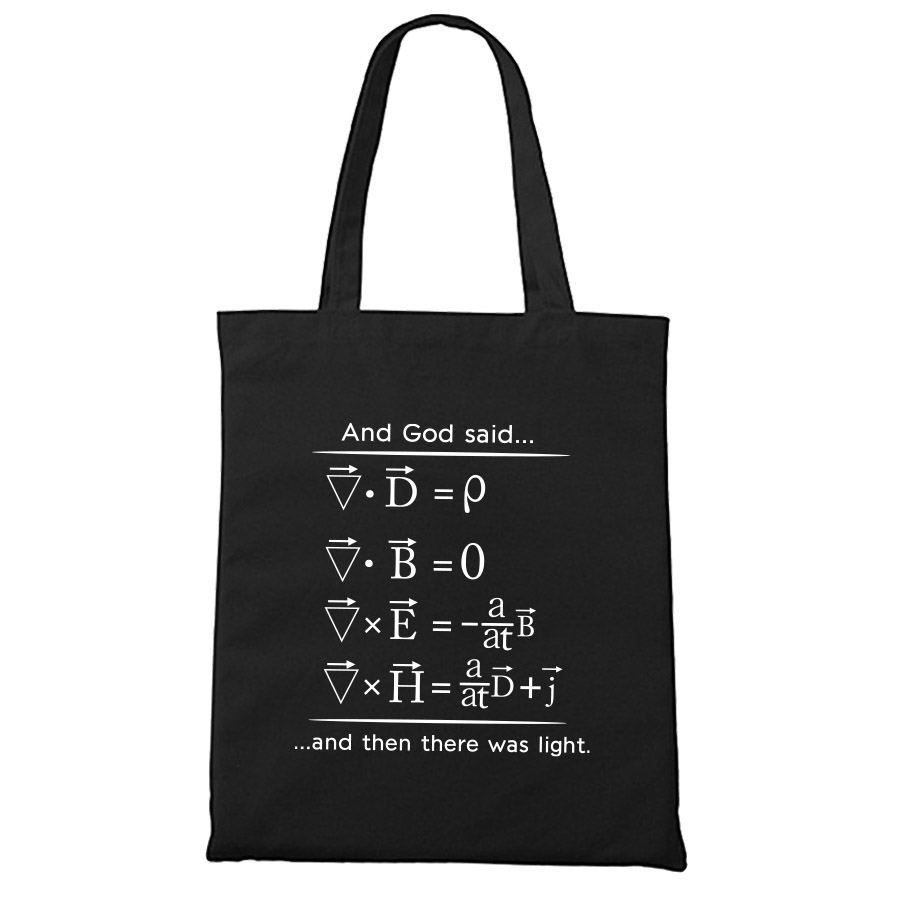 Physics Tote Shopping Bag Maxwell Equations Science Gift For Student Eco Reusable Nerd Canvas Bags