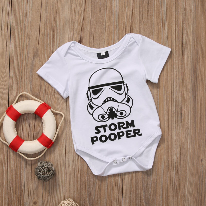Pudcoco Newborn Star Wars Infant Baby Boy Short Sleeve Letter Printed Bodysuit Jumpsuit Clothes Outfits 0-18M