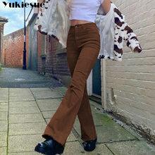 Calças de brim de cintura alta moda feminina browm mulher meninas calças de brim calças de brim feminino jean femme denim bagge mãe