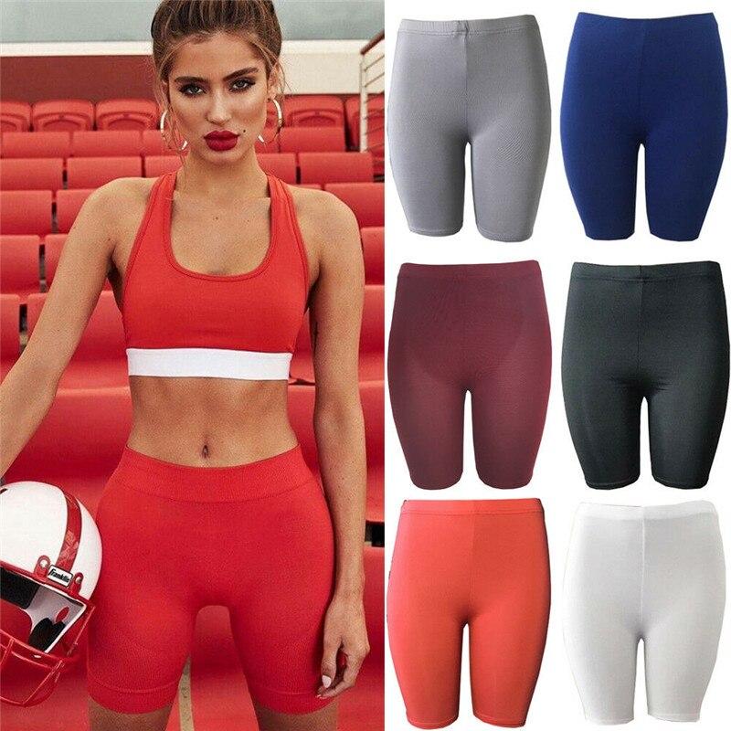 Womens Fitness Half High Waist Quick Dry Skinny Bike Shorts New Tight Short Black Red Gray Slim Korean Sport Shorts Hirigin