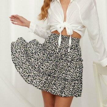 summer mini skirt women 2020 high waist ruffle elegant skirts ladis holiday Allover Print beach short skirt allover grid print sheet set