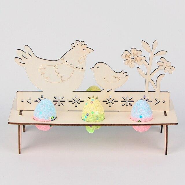 Support à œufs de pâques en bois | Bricolage, décoration de Table pour fête de pâques, design de Table pour oeuf lapin gribouillage puce de bois, nouvelle collection