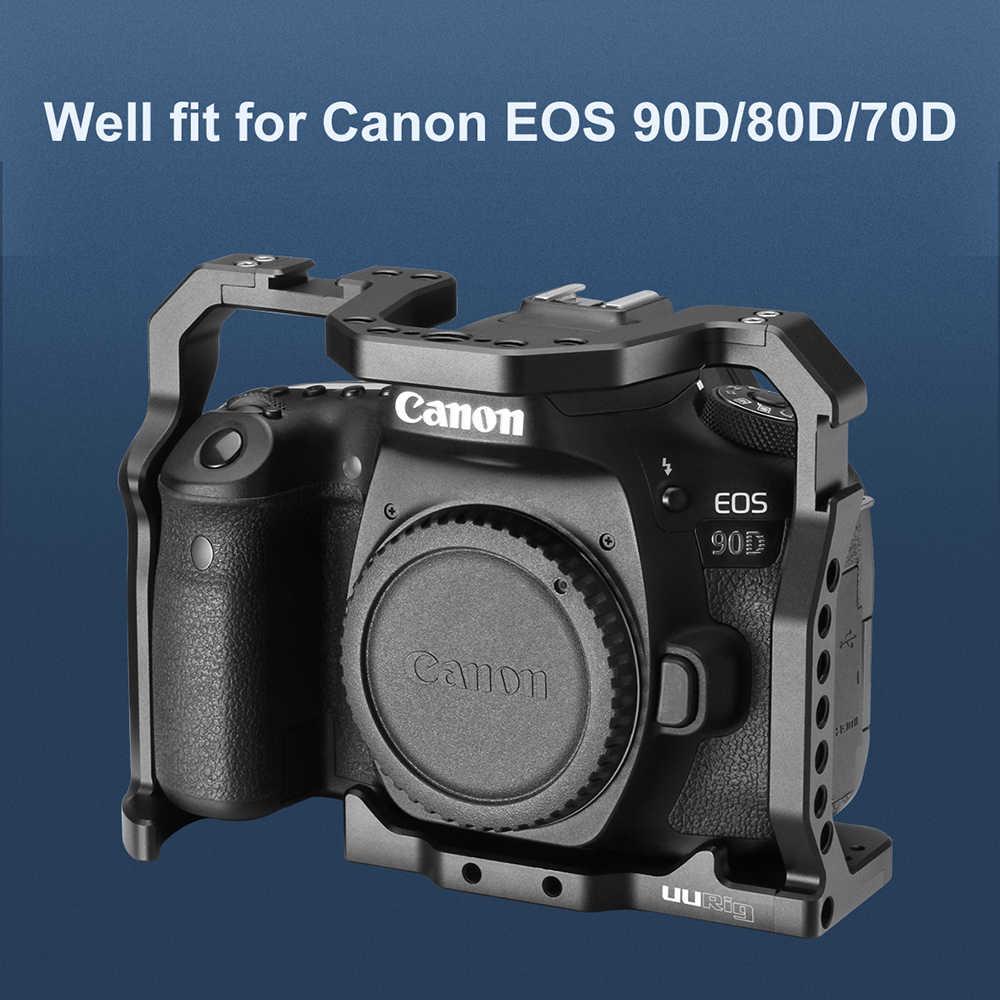 Uurig Aluminium Alloy Kamera Kandang untuk Canon EOS 90D/80D/70D DSLR Rig dengan Dingin Sepatu ARRI 1/4 sekrup Handle Pegangan Tangan