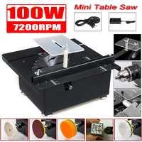 100W Mini Table Saw Handmade Woodworking Bench Saw DIY Hobby Model Crafts Cutting Tool+Power Supply 125mm HSS Circular Saw Blade
