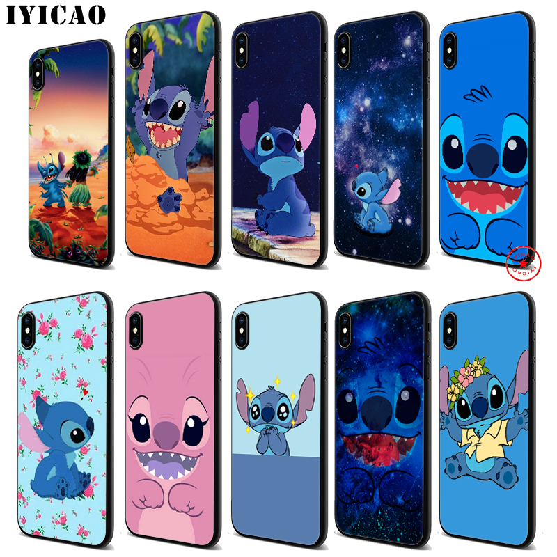 IYICAO Lilo Stitch Cute Soft Black Silicone Case for iPhone 11 Pro Xr Xs Max X or 10 8 7 6 6S Plus 5 5S SE in Fitted Cases from Cellphones Telecommunications