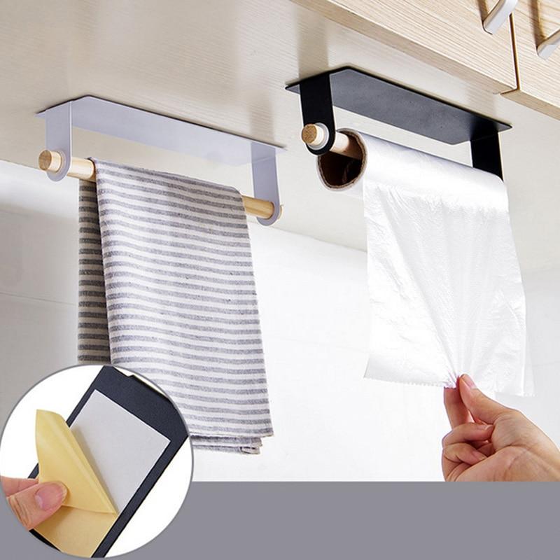 Wall Hanging Towel Holder Bathroom Wood Towel Bars Kitchen Rag Dishcloth Towel Rack Toilet Roll Paper Holder Bathroom Organizer