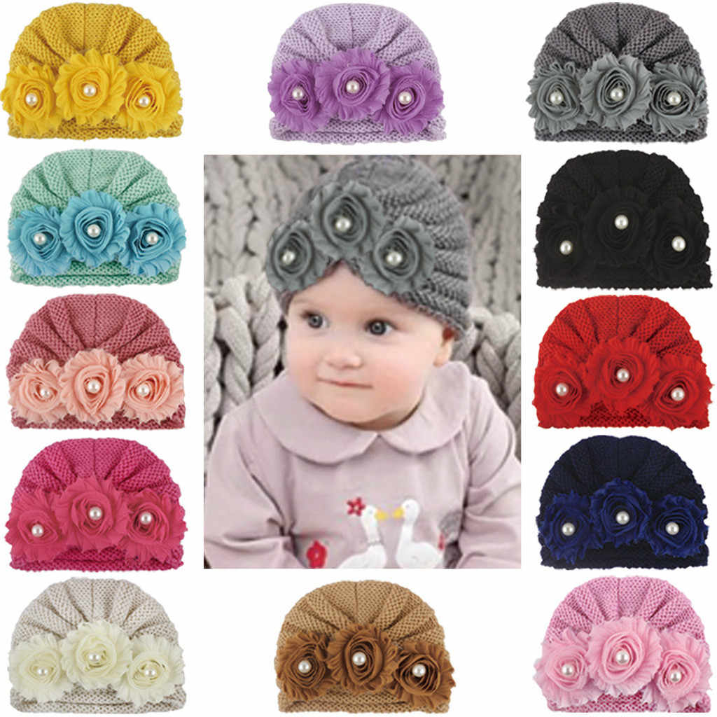 Newborn Baby Boys Girls Knitted Bead Hat Beanie Warm Crochet Cap gorros bebe winter hat baby kids winter photography turbantes