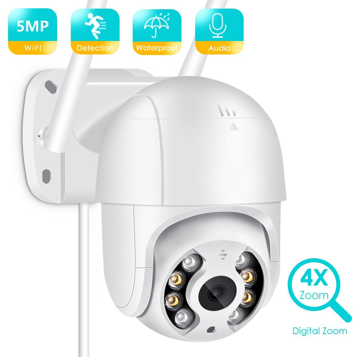 BESDER 5MP PTZ IP Camera Wifi Outdoor AI Human Detection Audio 1080P Wireless Security CCTV P2P RTSP 4X Digital Zoom Wifi Camera 1