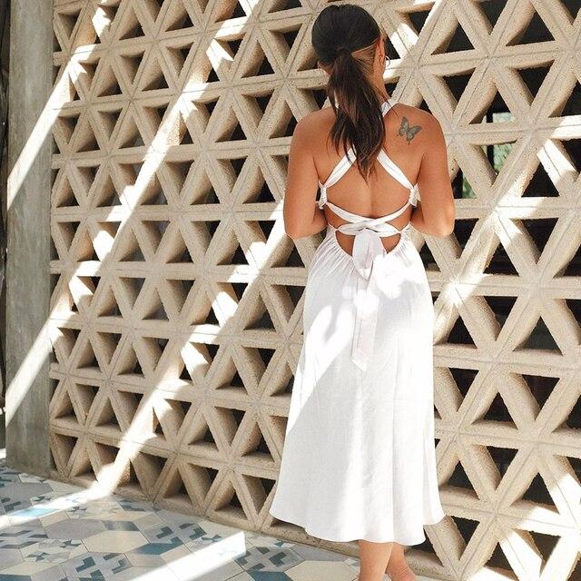 NewAsia Backless White Dress Woman Tie up V Neck Split Midi Sexy Dresses Ladies A Line Robe Casual Party Fashion Beach Vestidos 3