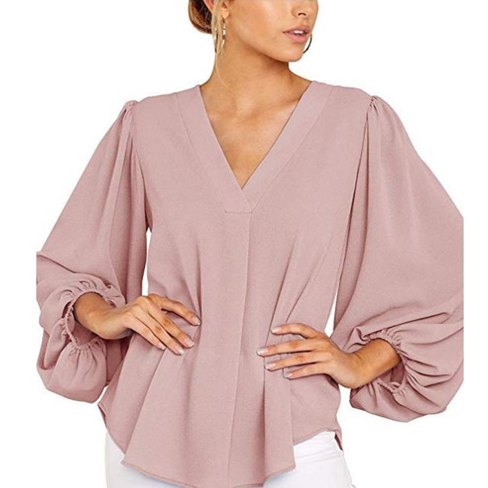 2020 Spring Fashion Women Fashion Blouses Top Women Tie Front Tops 3/4 Sleeve Loose Solid Casual Workout V Neck Blouses