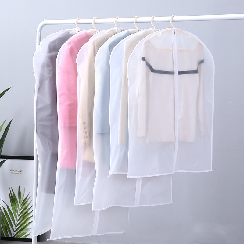 Clothes Dust Bag Household Coat Transparent Waterproof Suit Cover Finishing Storage Clothes Bag Dust Cover EVA
