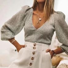Eleganckie damskie koszule z cekinami 2020 wiosna moda damska Vintage srebrna końcówka Party kobieta Sexy dekolt w serek Femme Girls Chic Clothes