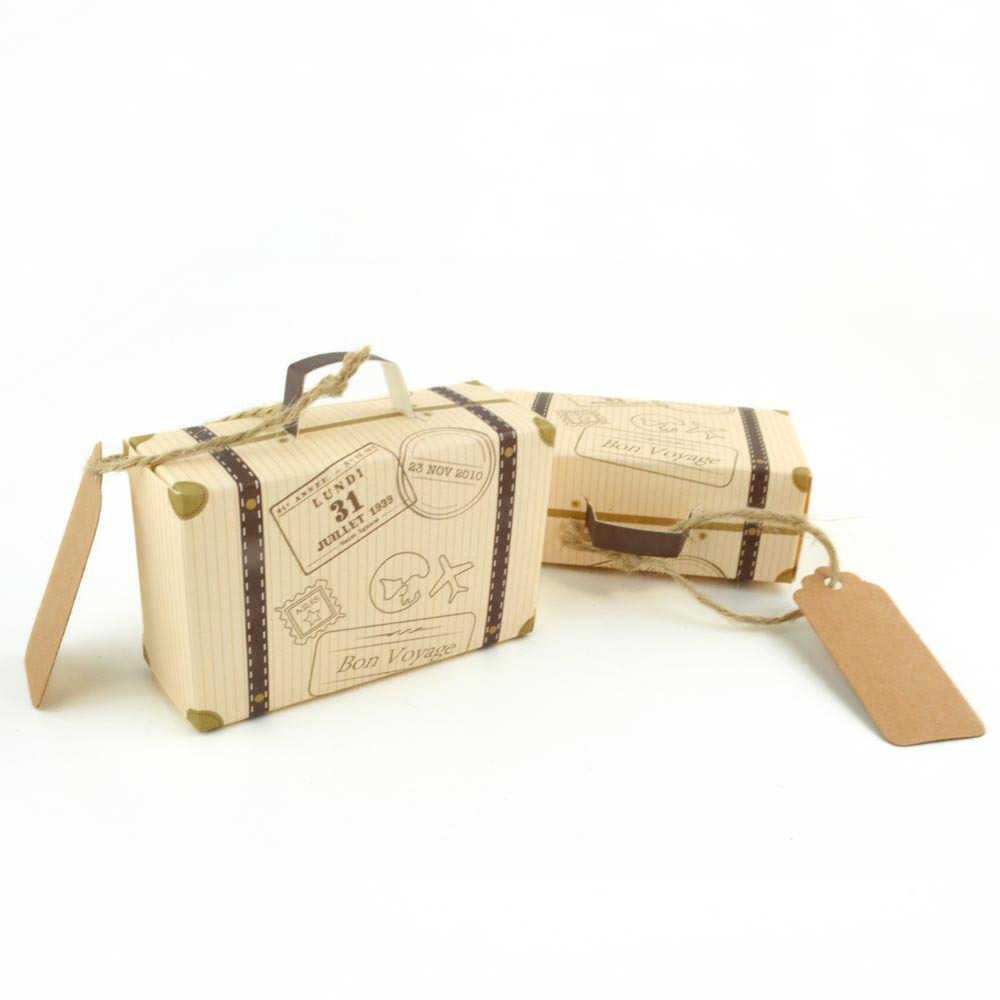 50 個ミニスーツケース好意ボックスパーティーの好意キャンディボックス、ヴィンテージクラフト紙タグとロープ/旅行をテーマにした部分