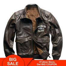 2020 Brown Men World War II Air Force Pilot Leather Jacket Plus Size XXXXL Genuine Cowhide American Style Aviator Coat