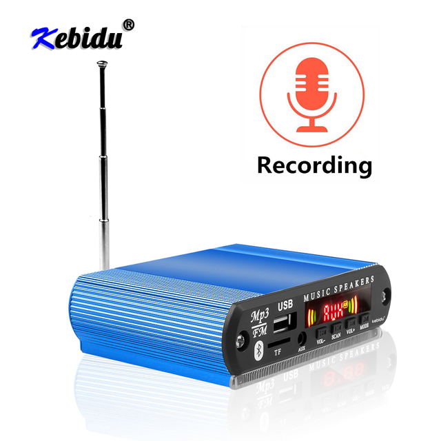 Kebidu 12V Wireless Bluetooth MP3 Player WMA Decoder Board Car Radio with Recording Function Support USB/SD/FM Audio Module