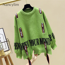 Large Size Jumper Women's Sweater 2019 Autumn Winter New Korean Lazy Wind Loose Long Sleeve Sweater Pullover Femme Nancylim