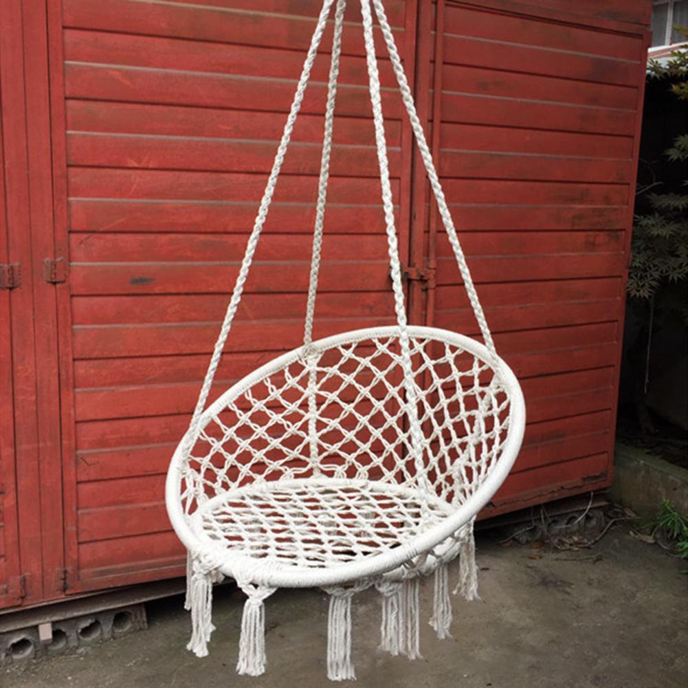 Style nordique rond hamac sécurité suspendu hamac chaise balançoire corde extérieure intérieure chaise suspendue siège de jardin pour enfant