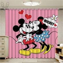 Cortina para janela de desenhos animados, cortina para sala de estar, mickey e minnie