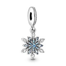 JrSr new 100% 925 sterling silver Beads Blue Snowflake Charms Pendant Fit Pandora Bracelets woman DIY jewelry gift Free shipping jrsr new 100% 925 sterling silver beads pink pave peach blossom flower dangle charms fit pandora bracelet women diy jewelry gift