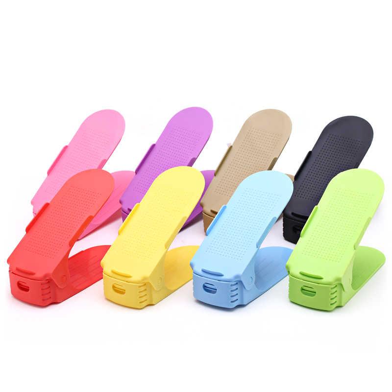 Adjustable Organizer Sepatu Modern Double Rak Sepatu Penyimpanan Space Saver Sepatu Penyelenggara Berdiri Rak untuk Ruang Tamu YHJ1227