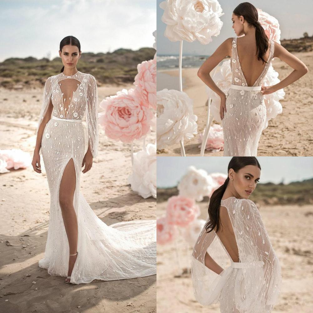 Vestiti Da Sposa Wedding.Mermaid Wedding Dresses With Wrap Lace 3d Floral Applique Beads