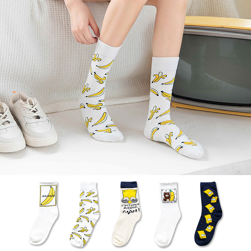 Cartoon Banana Sock Cute Fashion Printing Women Yellow Sock Funny Harajuku Street Hip Hop Casual Cotton Socks Autumn Winter