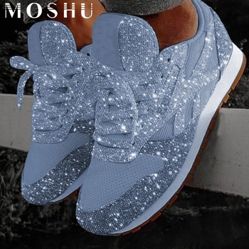 Women Casual Glitter Shoes Mesh Flat Shoes Ladies Sequin Vulcanized Shoes Lace Up Sneakers Outdoor Sport Running Shoes 2020