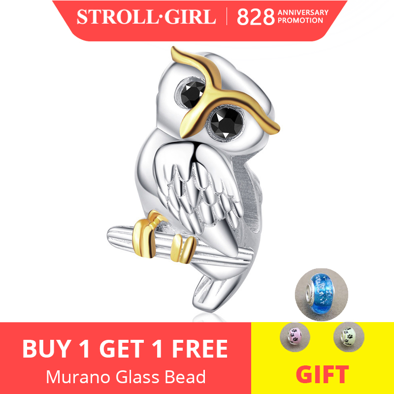Strollgirl Pandora Bracelet Beads-Fit Charms Sterling-Silver Jewelry Animal for Mother's-Day-Gift
