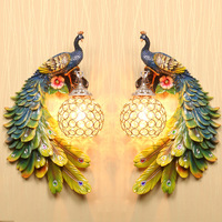 European Art Colorful Peacock Wall Lamp Crystal Lamp Shade Garden Bedroom Corridor Living Room TV Background Wall Resin Light