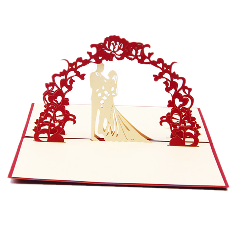 3D Pop Up Birthday Card Postcard Gift Card Wedding Love Memorial Card Marry Love